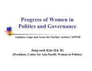 Progress of Women in Politics and Governance, Updates - CAPWIP