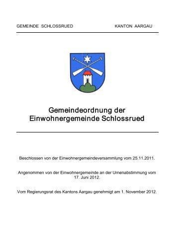 Gemeindeordnung der Einwohnergemeinde Schlossrued