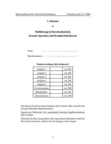 1. Klausur in Einführung in Berechenbarkeit, formale Sprachen und ...