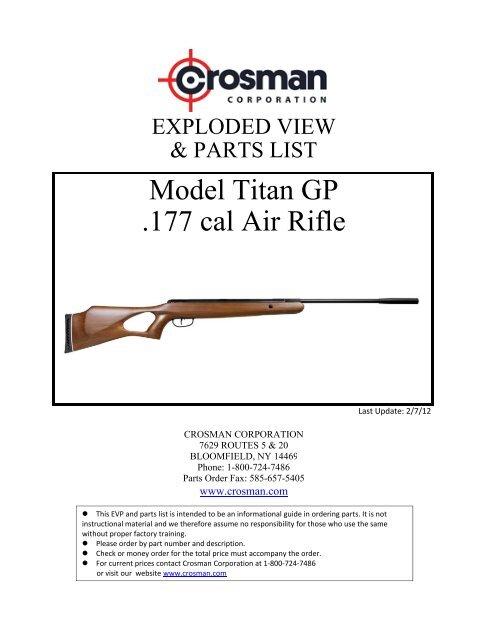 Model Titan GP  177 cal Air Rifle - Crosman