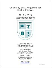 University of St. Augustine for Health Sciences 2012 – 2013 Student ...