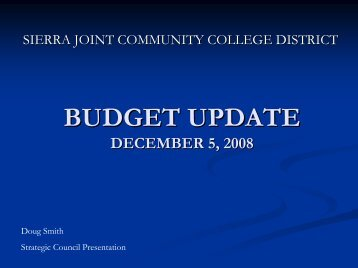 BUDGET UPDATE DECEMBER 5, 2008 - Aaron Klein