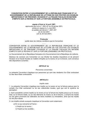convention entre le gouvernement de la republique ... - SARF