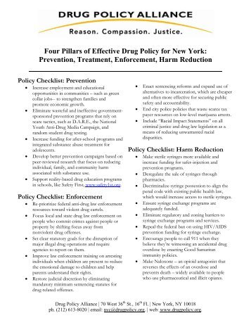 Four Pillars of Effective Drug Policy for New York: Prevention ...