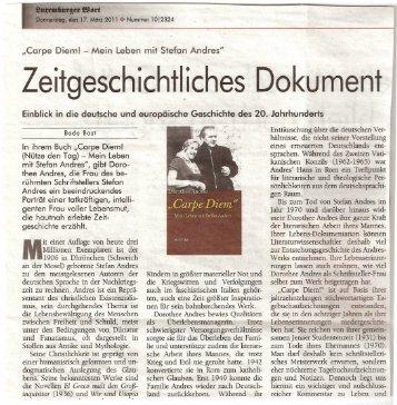 Dorothee Andres: Carpe Diem – Luxemburger Wort 17.03.11
