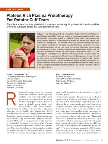 Platelet Rich Plasma Prolotherapy For Rotator Cuff Tears