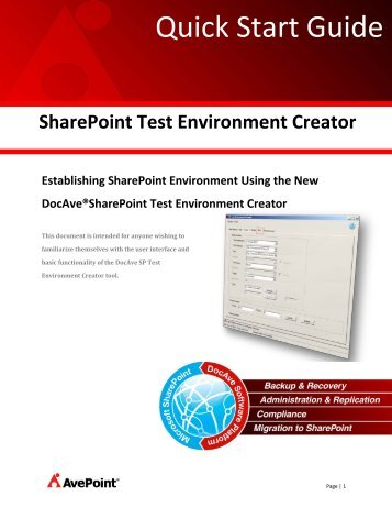 SharePoint Test Environment Creator - AvePoint