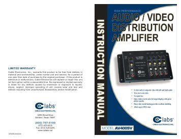 AUDIO / VIDEO DISTRIBUTION AMPLIFIER