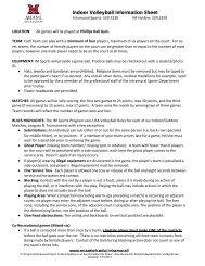 Indoor Volleyball Information Sheet - Miami Recreation