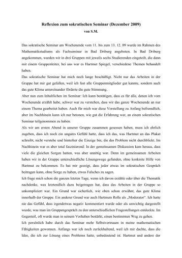 Reflexion zum sokratischen Seminar (Dezember 2009)