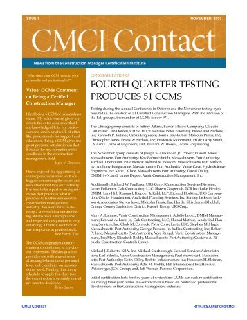 FOURTH QUARTER TESTING PRODUCES 51 CCMS - CMAA