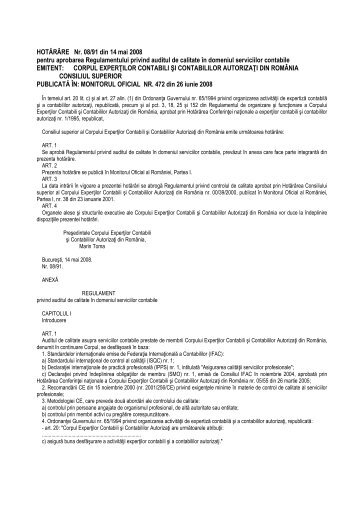 Regulament audit de calitate - C.E.C.C.A.R. – Filiala Brasov