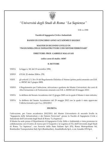 Ingegneria delle infrastrutture e dei sistemi ferroviari - Ferrovie dello ...