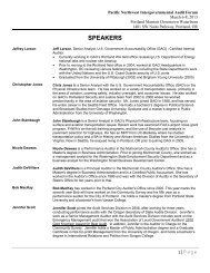 SPEAKERS - Intergovernmental Audit Forums