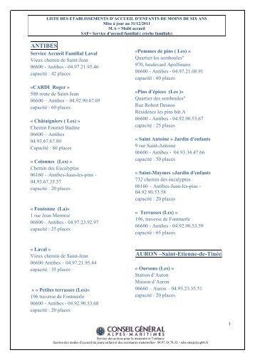 Liste des établissements d'accueil d'enfants de moins de 6 ans