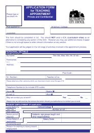 APPLICATION FORM for TEACHING APPOINTMENT - The TES