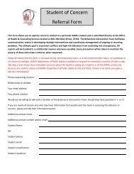 Student of Concern Referral Form