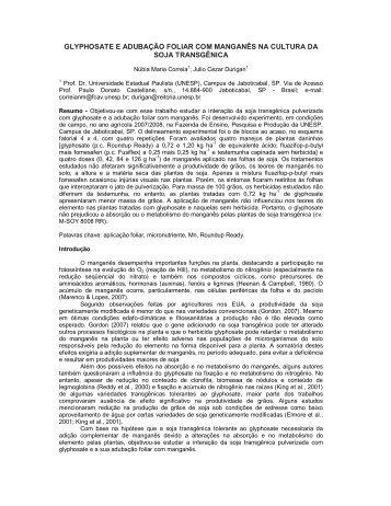 glyphosate e adubação foliar com manganês na cultura da ... - Unesp
