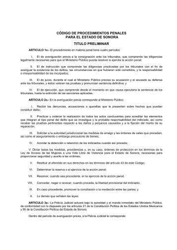 Código de Procedimientos Penales - H. Congreso del Estado de ...