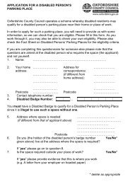 Application for a Disabled Person's Parking Place - Oxfordshire ...