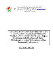 DISCOURS D'OUVERTURE DU PRESIDENT DE L'ASSOCIATION ...
