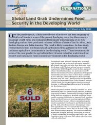 Global Land Grab Undermines Food Security in the Developing World