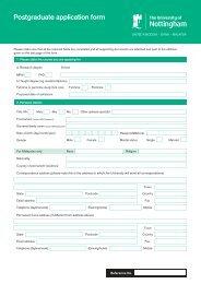 Postgraduate application form - The University of Nottingham ...