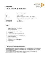 protokoll der 20. ordentlichen gv 2013 - Elternverein Dietlikon
