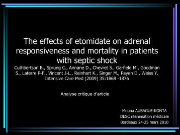 The effects of etomidate on adrenal responsiveness and mortality in ...
