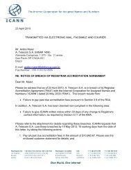 ICANN Sends Notice of Breach to Registrar