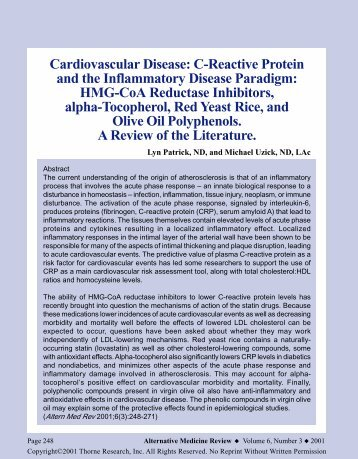 Cardiovascular Disease: C-Reactive Protein - Thorne Research