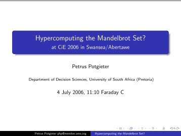 Hypercomputing the Mandelbrot Set? - Department of Computer ...