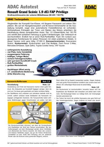 Umfassender Test Renault Grand Scénic 1.9 dCi FAP ... - ADAC