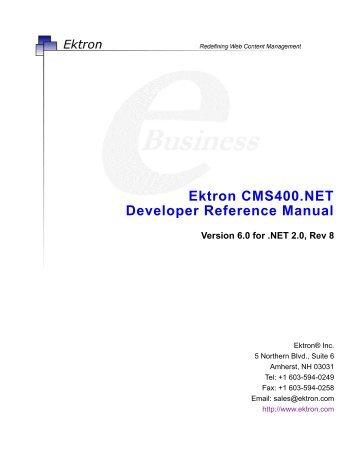 Ektron CMS400.NET Developer Reference Manual - Dublin.ie