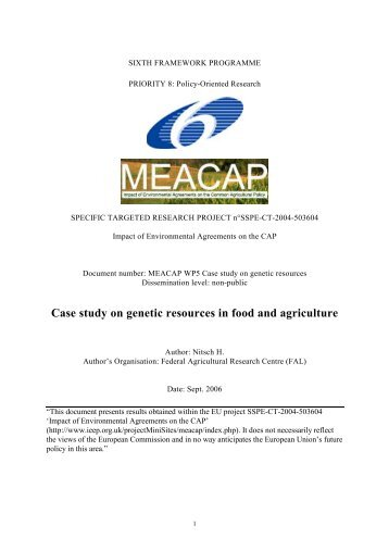 WP5 Case study on genetic resources in food and agriculture
