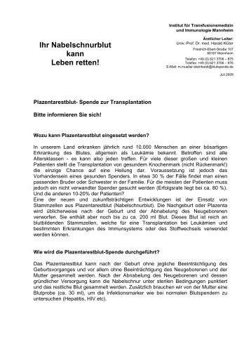 Ihr Nabelschnurblut kann Leben retten! - Marienhospital