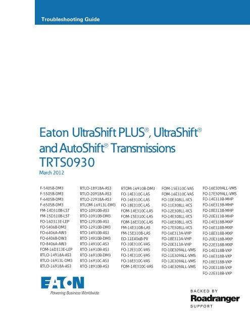 Eaton UltraShift PLUS®, UltraShift® and     - weller truck parts