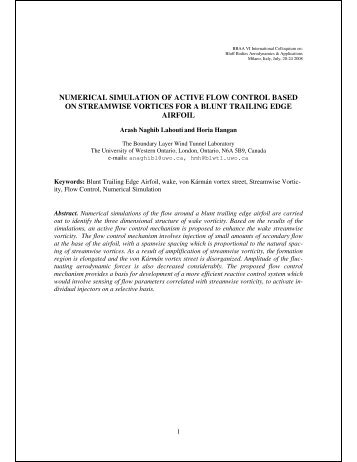 numerical simulation of active flow control based on ... - BBAA VI
