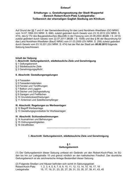 Entwurf Erhaltungs- und Gestaltungssatzung ... - Stadt Wuppertal
