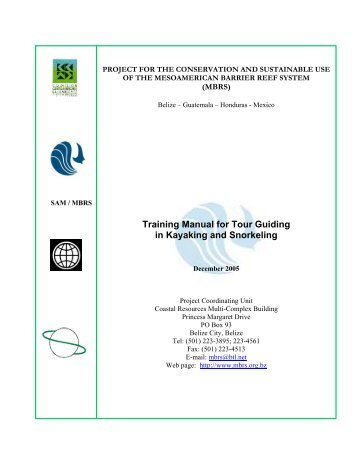 Training Manual for Tour Guiding in Kayaking and Snorkeling