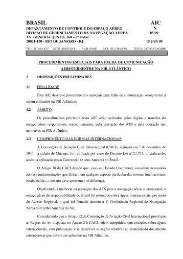 BRASIL AIC - Tarifas de Navegação Aérea - DECEA