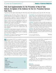 Folic Acid Supplementation for the Prevention of Neural Tube Defects