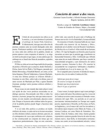 Concierto de amor a dos voces (Poemario) - Revista La Manzana ...
