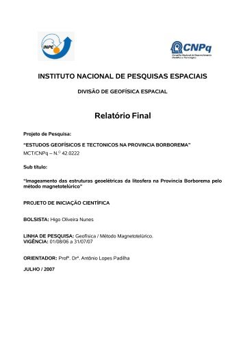 Estudos geofísicos e tectônicos na Província ... - mtc-m17:80 - Inpe