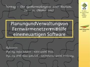 Planung und Verwaltung von Fernwärmenetzen mit Hilfe einer ...