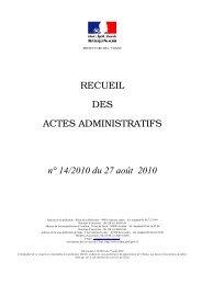 Recueil n°14 du 27 août 2010 - Les services de l'État dans l'Yonne