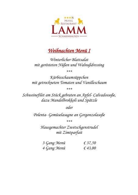 Menü Weihnachten.Weihnachten Menü I Hotel Restaurant Lamm Scharnhausen