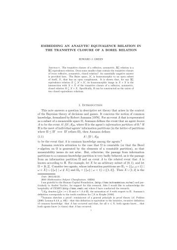 EMBEDDING AN ANALYTIC EQUIVALENCE RELATION IN THE ...