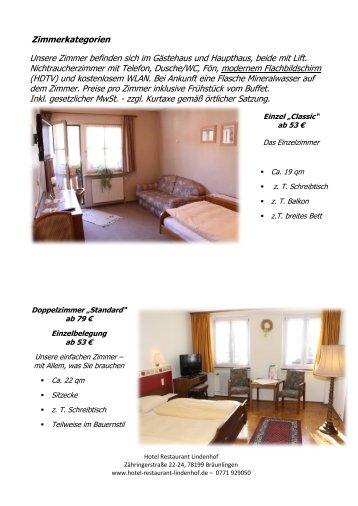 Zimmerkategorien - Hotel Restaurant Lindenhof