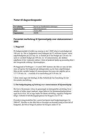 1. Notat om forventet merforbrug til hjemmehjælp ... - Greve Kommune